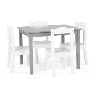 Inspire 5-Piece Wood Kids Table & Chairs Set in Grey & White