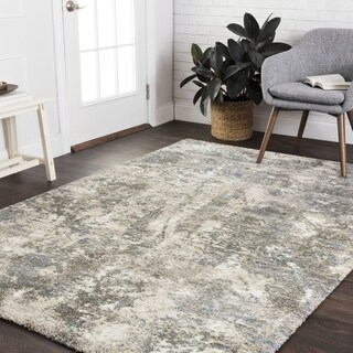 Mid-century Slate Grey Abstract Rug - 12' x 15'