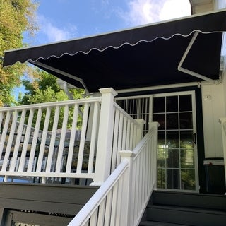 ALEKO Retractable Home Patio Canopy Awning 12 x 10 Feet Black Color