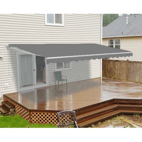 ALEKO Retractable 16 x 10 ft Motorized Home Patio Canopy Awning Grey