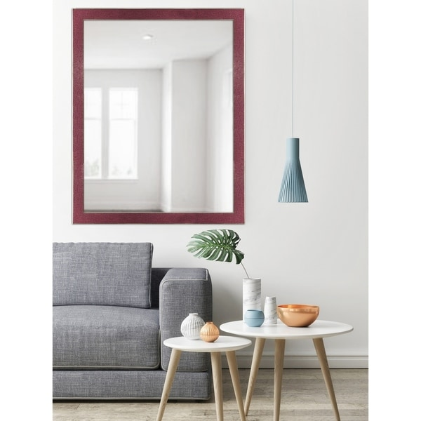 Red Two-toned Silver Speckled Framed Mirror
