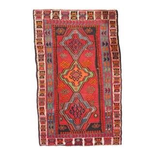 Pasargad NY Handmade Russian Kazak Red/Multicolor Lamb Wool Rug - 5'11 x 9'8