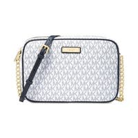 MICHAEL Michael Kors Signature Jet Set Item Large East West Crossbody Optic White/navy