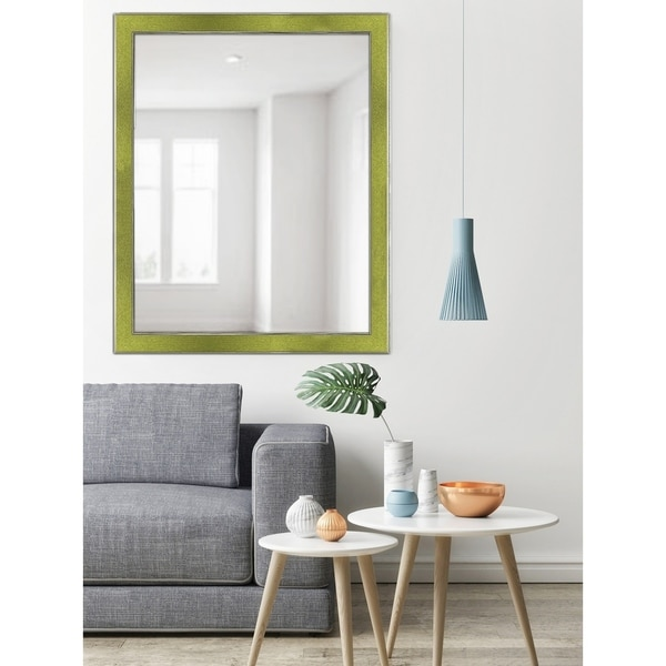 Green Two-toned Silver Speckled Framed Mirror