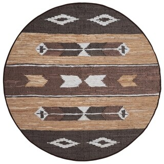 Brown Matador Leather Chindi Round Rug - 3x3'
