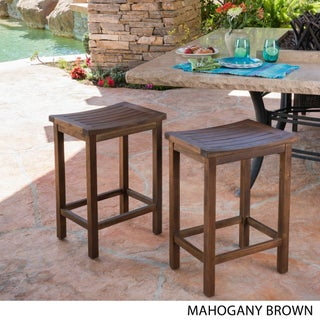 Amantani Outdoor Acacia Counter Stool (Set of 2) by Christopher Knight Home