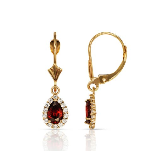 Curata Solid 14k Yellow Gold Birthstone Pear-shaped Cubic Zirconia Halo Dangle Leverback Earrings (6mm x 24mm)