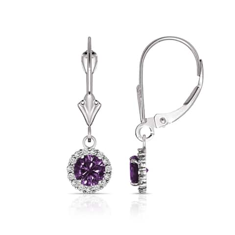 Curata Solid 14k White Gold Birthstone Round Cubic Zirconia Halo Dangle Leverback Earrings (6mm x 25mm)