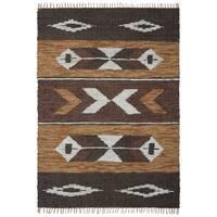 Brown Matador Leather Chindi Rug (10x14') - 10' x 14'