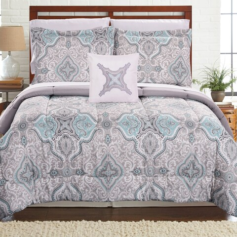 Amrapur Overseas Pigale Aqua 8-piece Printed Reversible Complete Bed Set