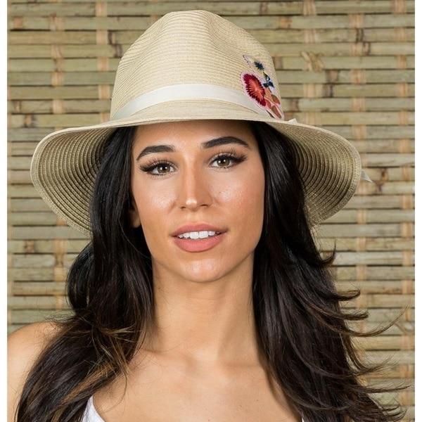 Hatch Flower Gambler Sun Summer Poly Braid women's Fedora Hat. Opens flyout.