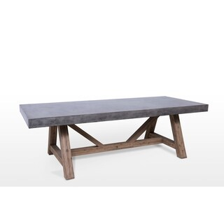 Nordland Manor Grey Concrete and Teak Outdoor and Indoor Dining Table