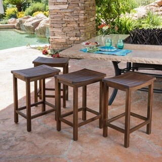 Amantani Outdoor Acacia Counter Stool (Set of 4) by Christopher Knight Home