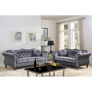Carbon Classic Nailhead Chesterfield 2 Piece Living Room Set