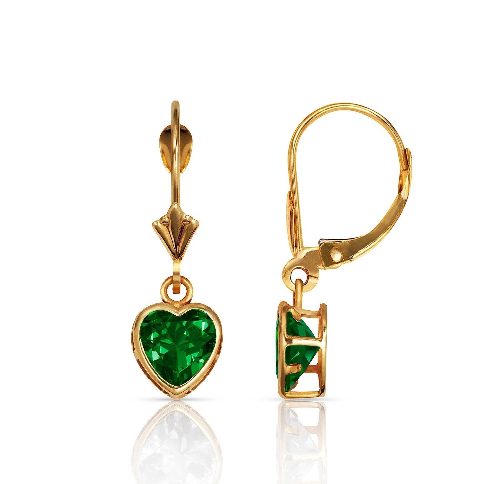 14K Yellow Gold Birthstone Emerald Teardrop Cubic Zircon Halo Dangle Earrings 1″