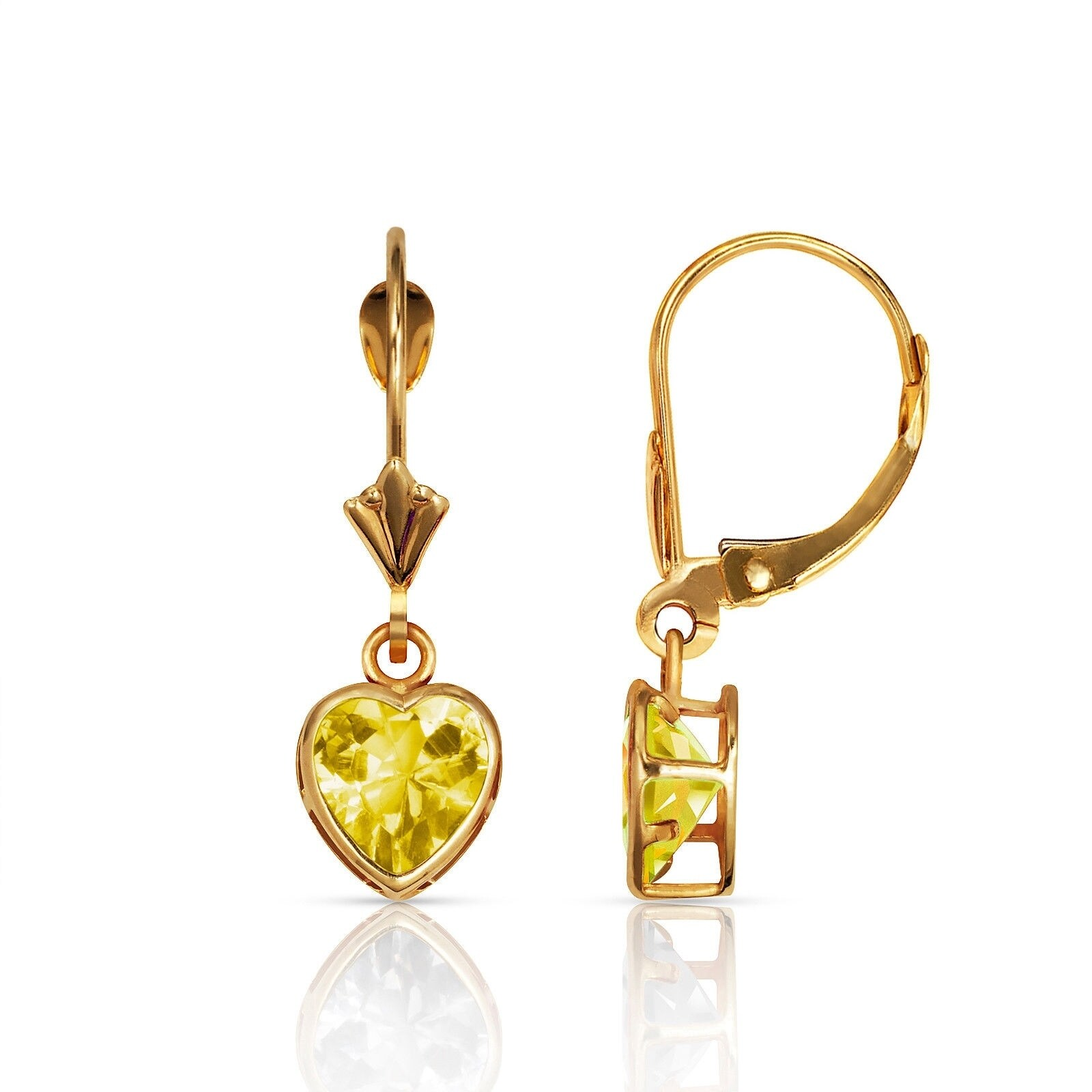14Kt Yellow Gold Natural Aquamarine 6mm Heart Shape Bezel Stud Earrings