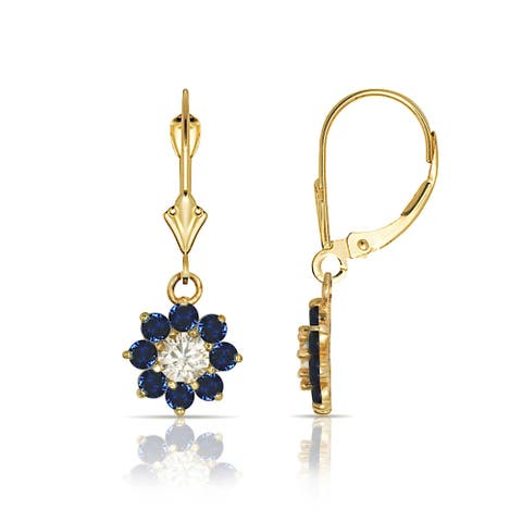 Curata Solid 14k Yellow Gold Birthstone Cubic Zirconia Flower Dangle Leverback Earrings (6mm x 25mm)