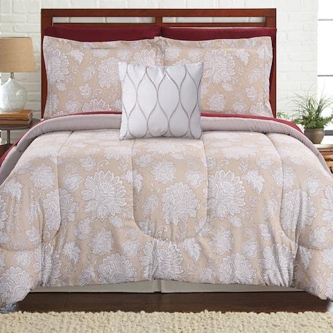 Amrapur Overseas Positano 8-piece Printed Reversible Complete Bed Set - Tan