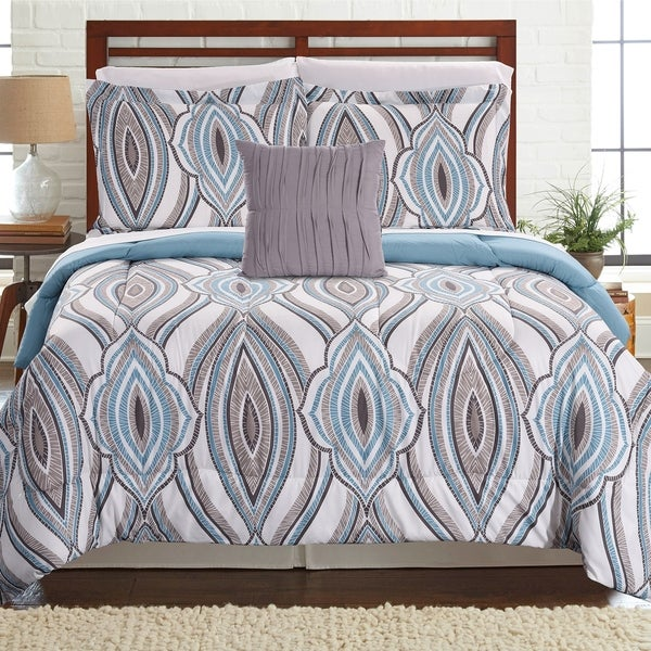 Amrapur Overseas Tribeca 8-piece Printed Reversible Complete Bed Set