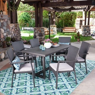 Westley Outdoor 7 Piece Wicker Dining Set by Christopher Knight Home