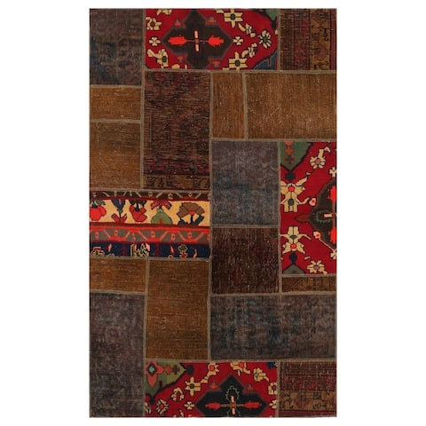 Handmade One-of-a-Kind Patchwork Wool Rug (Pakistan) - 3'9 x 6'1