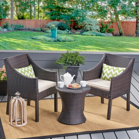 Sagan Outdoor 3 Piece Wicker Chat Set by Christopher Knight Home