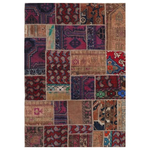 Handmade One-of-a-Kind Patchwork Wool Rug (Pakistan) - 4' x 5'10