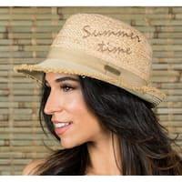 Hatch Summer Time Straw women's Fedora Hat White