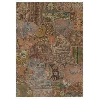 Handmade Herat Oriental Pak Persian Hand-knotted Patchwork Wool Rug (4'1 x 5'10) - 4'1 x 5'10