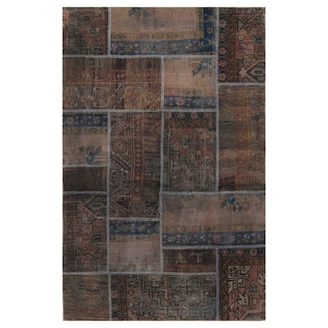 Handmade One-of-a-Kind Patchwork Wool Rug (Pakistan) - 3'10 x 6'