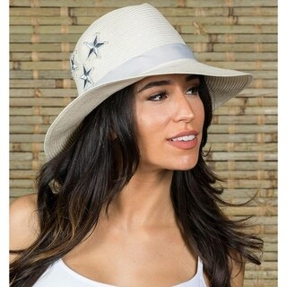 Hatch Silver Star Sun Summer Poly Braid women's Fedora Hat White