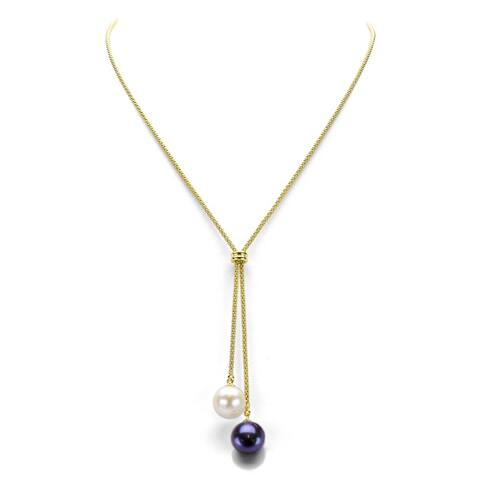 """DaVonna 18k yellow gold over Sterling Silver 9-10mm Multi-Color Freshwater Pearl Lariat Y Necklace 17"""""""