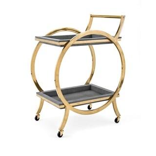 Margo Gleaming Gold Stainless Steel Bar Cart