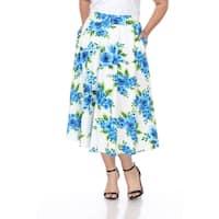 White Mark Plus Flower Print 'Tasmin' Flare Midi Skirts