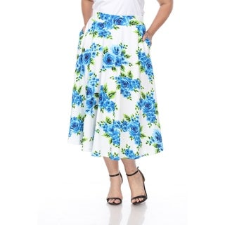 Link to White Mark Plus Flower Print 'Tasmin' Flare Midi Skirts Similar Items in Women's Plus-Size Clothing