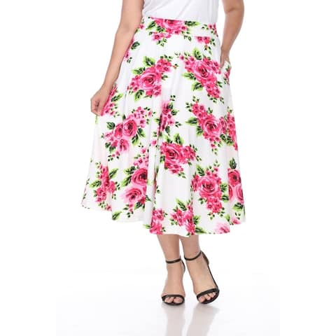 White Mark Plus Flower Print 'Tasmin' Flare Midi Skirts