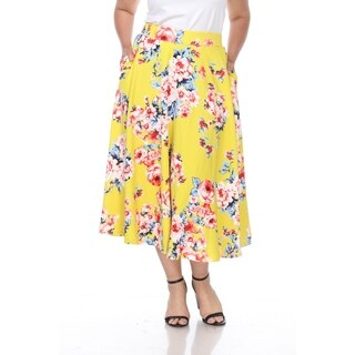 White Mark Plus Floral Print 'Tasmin' Flare Midi Skirts
