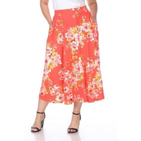 White Mark Plus Floral Print 'Tasmin' Flare Midi Skirts