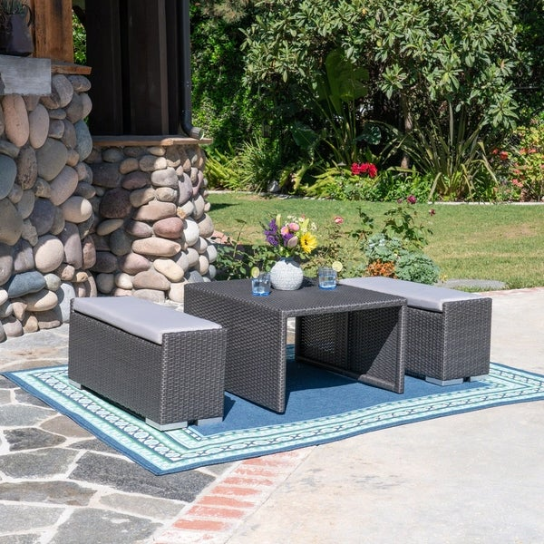 Santa Rosa Outdoor 3 Piece Coffee Table and Ottoman Set by Christopher Knight Home