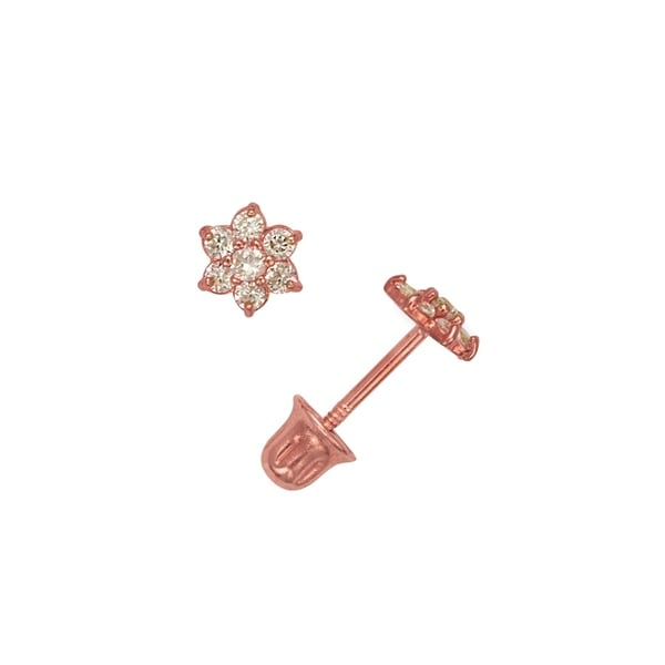 Curata Solid 14k Rose Gold Childrens Cubic Zirconia Small Flower Back Stud Earrings
