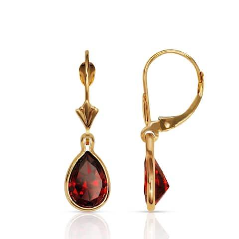 Curata Solid 14k Yellow Gold Birthstone Large Pear-shape Cubic Zirconia Bezel Dangle Leverback Earrings (6mm x 27mm)