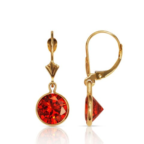 Curata Solid 14k Yellow Gold Birthstone Large Round Cubic Zirconia Bezel Dangle Leverback Earrings (8mm x 26mm)