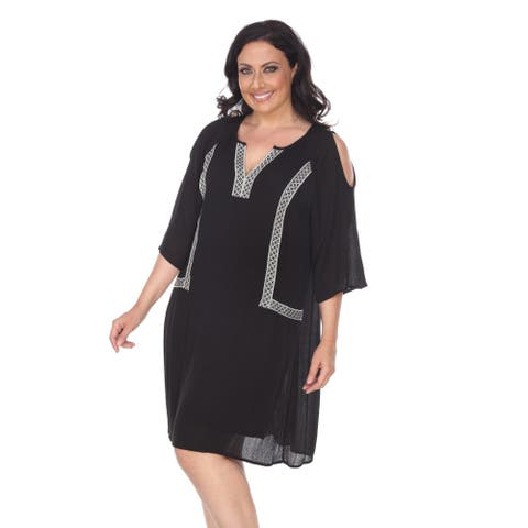 White Mark Plus Size Marybeth Embroidered Dress