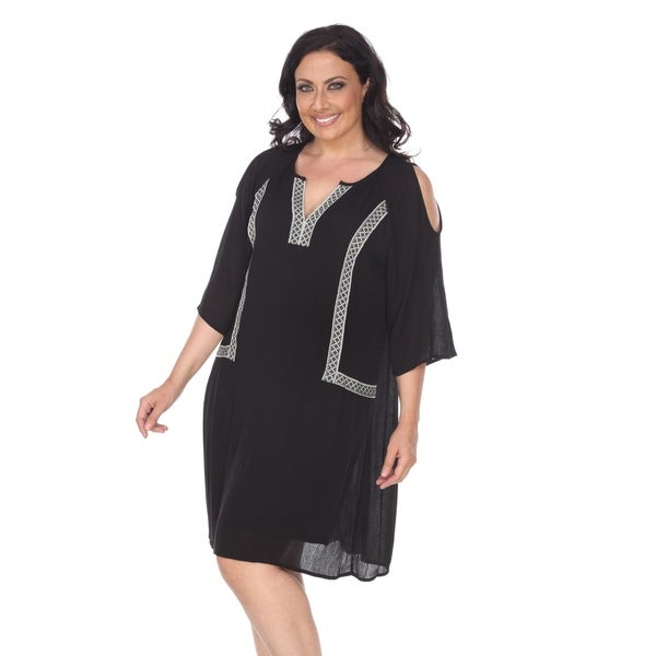 Shop White Mark Plus Size Marybeth Embroidered Dress Free Shipping