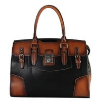 Diophy Genuine Leather Birkin Style Two Tone Tote