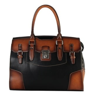 Diophy Genuine Leather Birkin Style Two Tone Tote (4 options available)