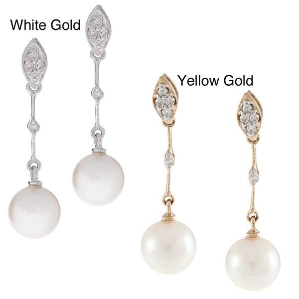 Kabella 14k Gold Akoya Cultured Pearl Diamond Earrings