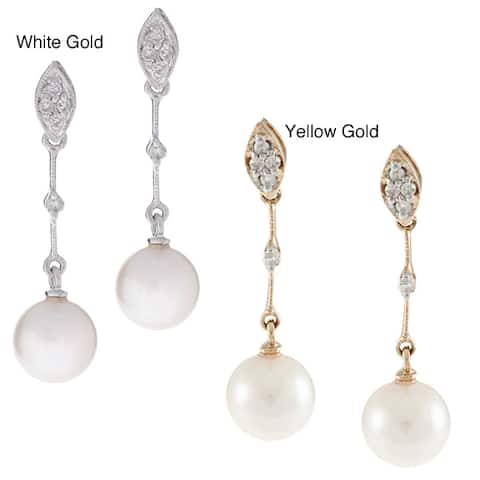 Kabella 14k Gold Akoya Cultured Pearl Diamond Earrings