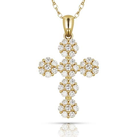 Curata Solid 14K Gold 16-inch Ornate Cubic Zirconia Flower Cross Necklace (15mm x 28mm) (yellow or white)