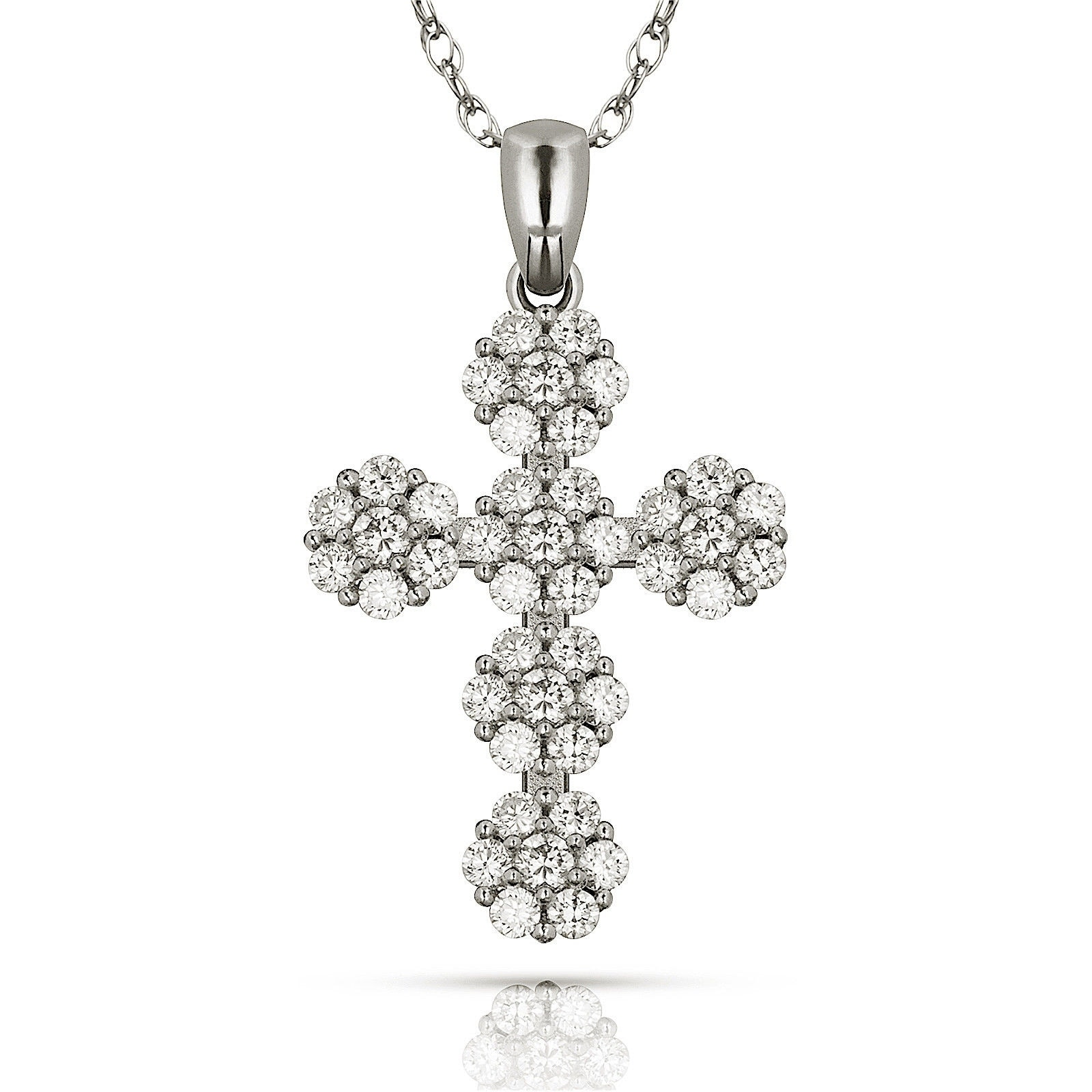 25 mm Jewels Obsession Solid 14K Rose Gold Cross Pendant